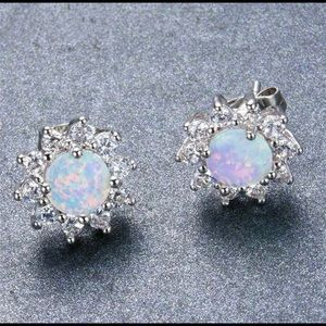 Fashion stud fire opal earrings